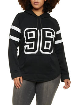 Plus Size Fleece Hoodie with 96 Graphic - BLACK/WHITE - 1912038341481