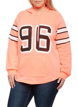 Plus Size Fleece Hoodie with 96 Graphic - 1912038341481