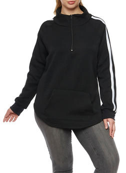 Plus Size Fleece Pullover Top with Striped Trim - BLACK - 1912038341482