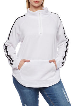 Plus Size Fleece Pullover Top with Striped Trim - WHITE - 1912038341482