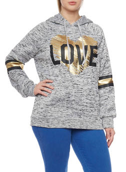 Plus Size Love Graphic Fleece Hoodie - 1912038341521