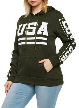 Plus Size USA Graphic Fleece Hoodie - 1912038341522
