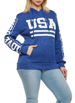 Plus Size Fleece Hoodie with USA Graphic - 1912038341522