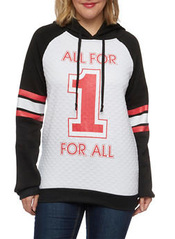Plus Size Quilted Hoodie with All for 1 Graphic - 1912038341532