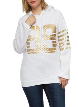 Plus Size Quilted Hoodie with 89 Print - 1912038341533