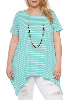 Plus Size Striped Top with Sharkbite Hem and Necklace - 1912038341991