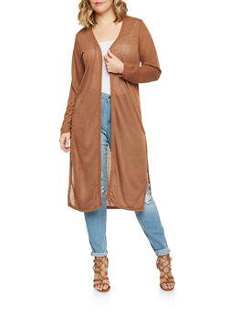 Plus Size Marled Long Sleeve Open Front Duster Cardigan - 1912038341995