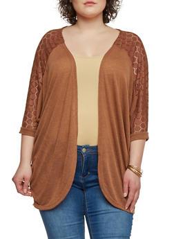 Plus Size Lace Shoulder Cocoon Cardigan - 1912038341997