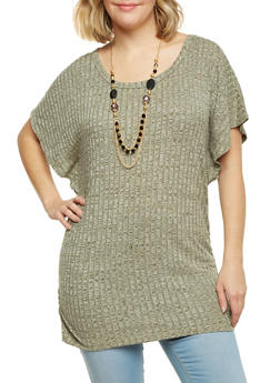 Plus Size Rib Knit Marled Top with Necklace - OLIVE - 1912038341998