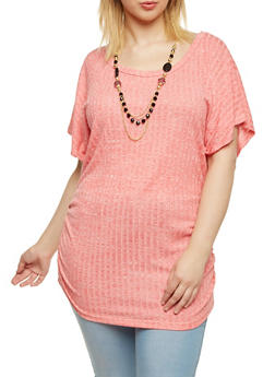 Plus Size Rib Knit Marled Top with Necklace - 1912038341998