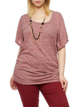 Plus Size Rib Knit Marled Top with Necklace - BURGUNDY - 1912038341998