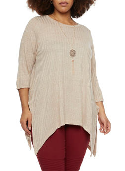 Plus Size Sharkbite Top with Necklace - 1912038341999
