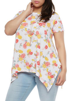 Plus Size Floral Top with Necklace - 1912038342080