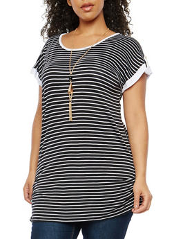 Plus Size Striped Tunic Top with Necklace - 1912038342090
