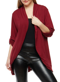 Plus Size Tabbed Sleeve Drape Front Cardigan - 1912038342204