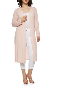Plus Size Solid Duster - 1912038342209