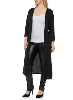 Plus Size Solid Open Front Duster - 1912038342210