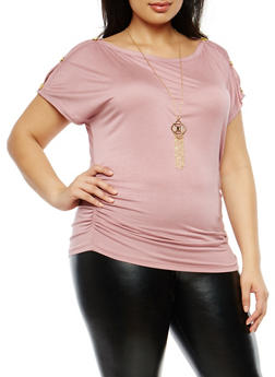 Plus Size Ruched Side Top with Necklace - 1912038342245