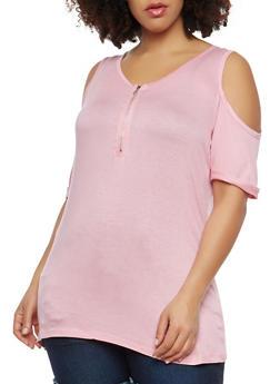 Plus Size Zip Neck Cold Shoulder Top - 1912038342248