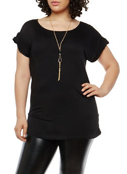 Plus Size Ruched Short Sleeve Top with Necklace - 1912038342249
