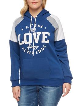 Plus Size Color Block Graphic Sweatshirt - 1912038342522