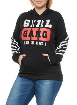 Plus Size Girl Gang Hooded Sweatshirt - 1912038342523