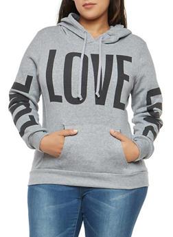 Plus Size Fleece Love Graphic Sweatshirt - 1912038342524