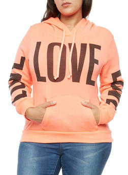 Plus Size Fleece Love Graphic Sweatshirt - 1912038342524