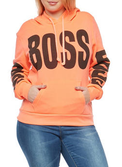 Plus Size Boss Graphic Hooded Sweatshirt - 1912038342525