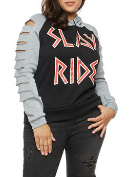 Plus Size Graphic Slashed Sleeve Sweatshirt - 1912038342528