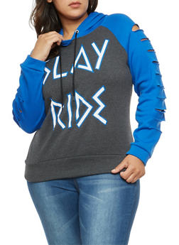 Plus Size Graphic Slashed Sleeve Sweatshirt - 1912038342528