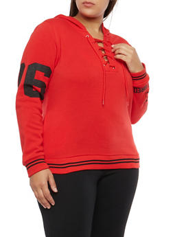 Plus Size Lace Up Brooklyn Graphic Hooded Sweatshirt - 1912038342549