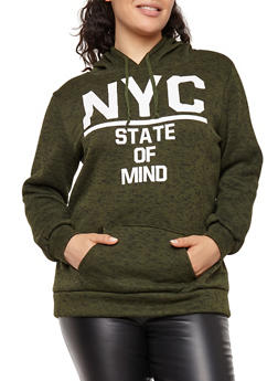 Plus Size NYC Graphic Hooded Sweatshirt - 1912038342560