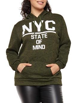 Plus Size NYC Graphic Hooded Sweatshirt - GREEN - 1912038342560