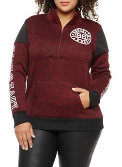 Plus Size Marled Half Zip Graphic Sweatshirt - 1912038342561