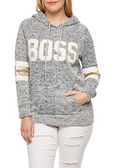 Plus Size Boss Graphic Fleece Sweatshirt - 1912038342562