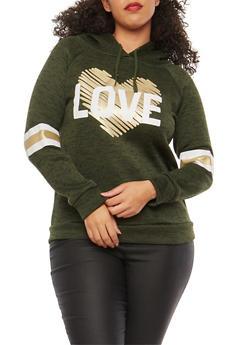 Plus Size Foil Heart Love Graphic Sweatshirt - GREEN - 1912038342564
