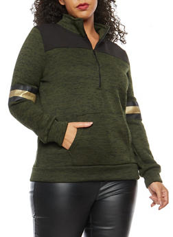 Plus Size Marled Love Foil Graphic Sweatshirt - 1912038342565