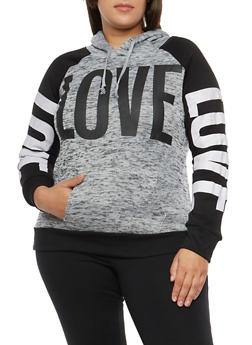 Plus Size Love Graphic Hooded Sweatshirt - 1912038342567