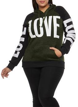 Plus Size Love Graphic Hooded Sweatshirt - GREEN - 1912038342567