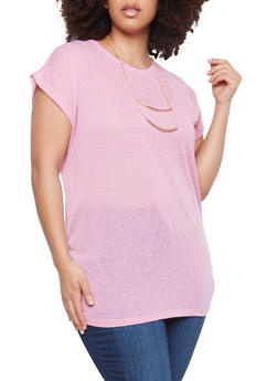 Plus Size Sheer Knit Top with Necklace - 1912038342638