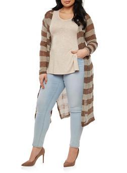 Plus Size Striped Knit Duster - 1912038345015