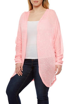 Plus Size Semi Sheer Cardigan With Open Front and Long Dolman Sleeves - 1912038346272