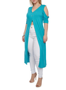 Plus Size High Slit Button Down Maxi Cardigan With Cutout Shoulders,TEAL,medium