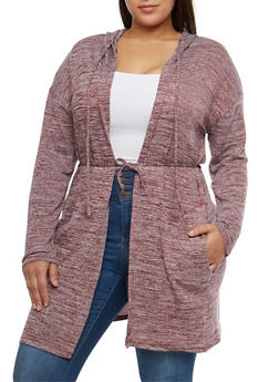 Plus Size Marled Hooded Duster - 1912038347102