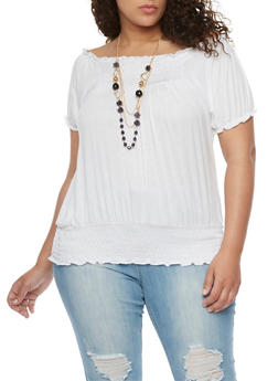 Plus Size Smocked Top with Tiered Necklace - WHITE - 1912038347120