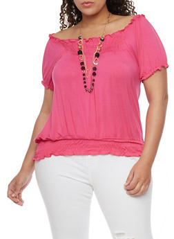 Plus Size Smocked Top with Tiered Necklace - 1912038347120