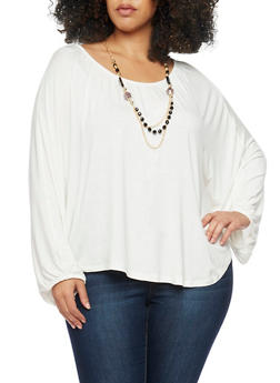 Plus Size Long Batwing Sleeve Top with Necklace - IVORY - 1912038347121
