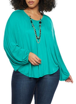 Plus Size Long Batwing Sleeve Top with Necklace - 1912038347121
