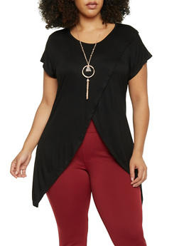 Plus Size Tulip Hem Top with Necklace - 1912038347123
